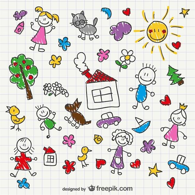 Dzieci Rysunek Ręka Styl Premium Wektorów
