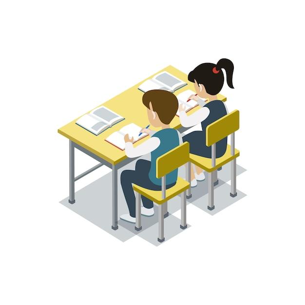 Dzieci siedzą przy biurku izometrycznej ilustracji Premium Wektorów