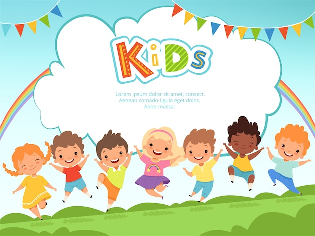 Dzieci Skoki W Tle. Szczęśliwe Dzieci Bawiące Się Mężczyzn I Kobiet Na Szablonie Plac Zabaw Dla Dzieci Z Miejscem Na Tekst Premium Wektorów