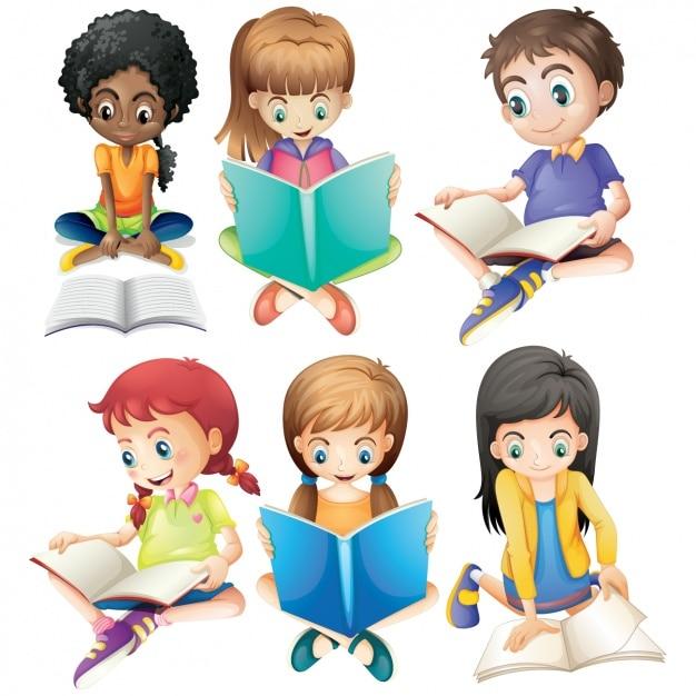 Dzieci Studiujących Kolekcji Premium Wektorów