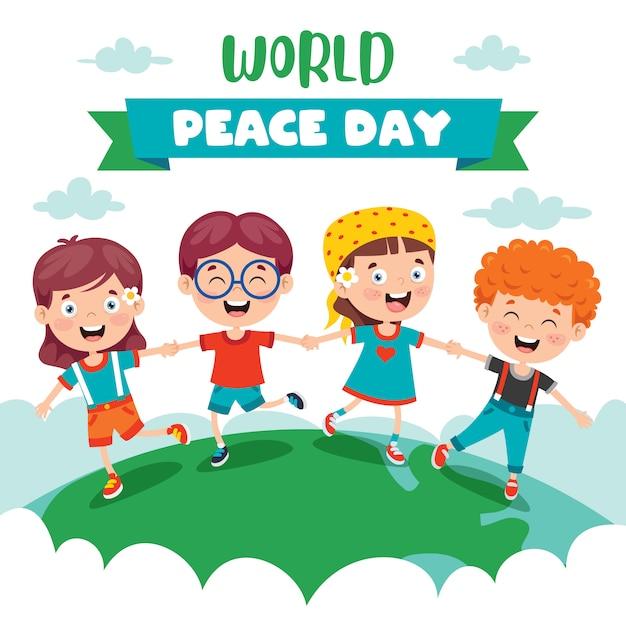 Dzieci świętują światowy Dzień Pokoju Premium Wektorów