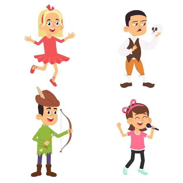 Dzieci Teatralne. Dzieci Wykonujące Na Szkolnej Scenie Zabawne Postacie Aktorzy Teatralni W Pozach Akcji Premium Wektorów