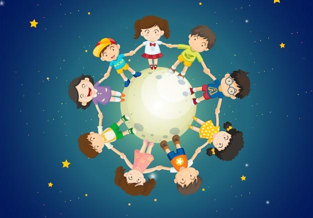 Dzieci Trzymają Ręce Razem Stojąc Nad Ziemią Premium Wektorów