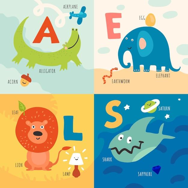 Dzieci Uczą Się Alfabetu Z Koncepcją Ilustracji Zwierząt Darmowych Wektorów