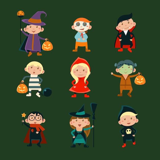 Dzieci W Kostiumach Na Halloween Ilustracji Premium Wektorów