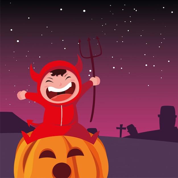 Dzieci w kostiumach na halloween Premium Wektorów