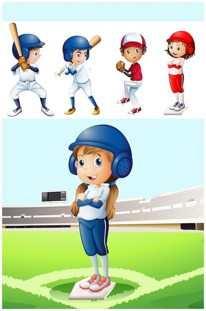 Dzieci w mundurze baseballu w polu ilustracji Darmowych Wektorów