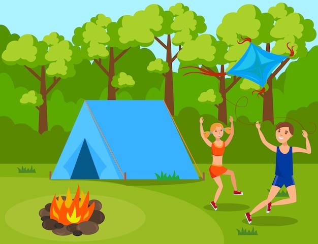 Dzieci w obozie letnim mieszkanie Premium Wektorów
