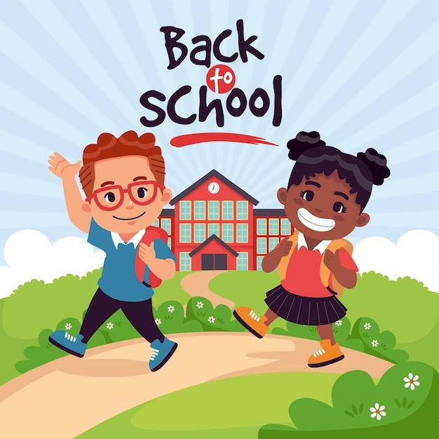 Dzieci W Stylu Kreskówki Z Powrotem Do Szkoły Darmowych Wektorów