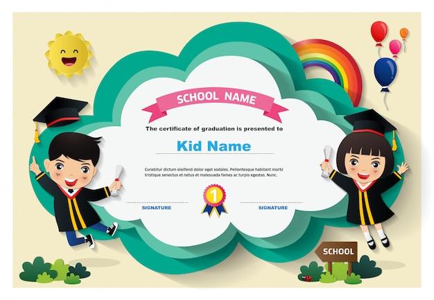 Dzieci w wieku przedszkolnym dyplom szablon tło certyfikat Premium Wektorów