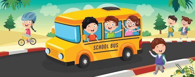 Dzieci w wieku szkolnym jadą autobusem do szkoły Premium Wektorów