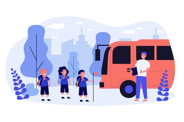 Dzieci W Wieku Szkolnym W Mundurze Z Płaską Ilustracją Nauczyciela Premium Wektorów