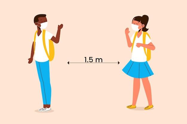 Dzieci W Wieku Szkolnym Witają Się W Nowej Normalności Darmowych Wektorów