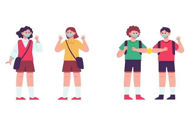 Dzieci W Wieku Szkolnym Witają Się W Nowej Normalności Premium Wektorów