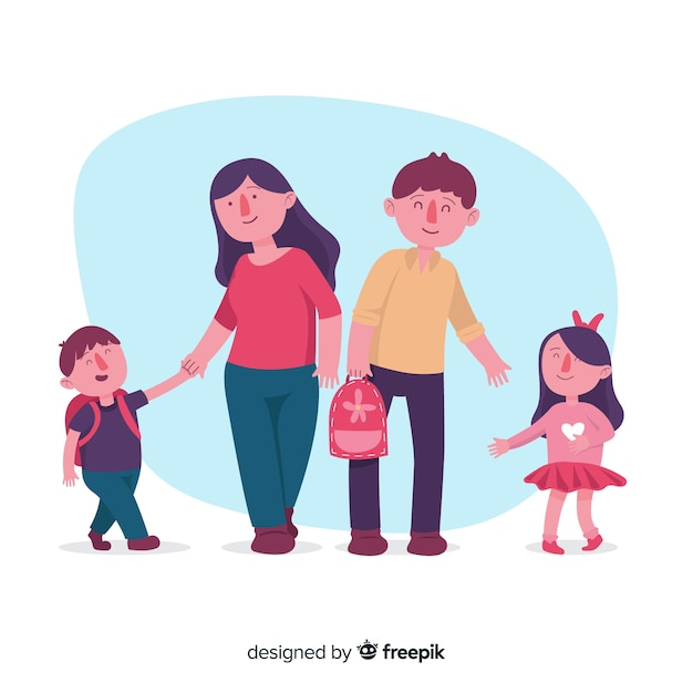 Dzieci w wieku szkolnym z tłem rodziców Darmowych Wektorów
