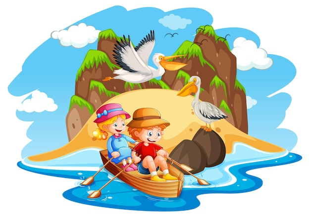 Dzieci Wiosłują łodzią Na Scenie Morskiej Darmowych Wektorów