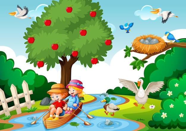 Dzieci Wiosłują łodzią W Scenie Lasu Strumienia Darmowych Wektorów