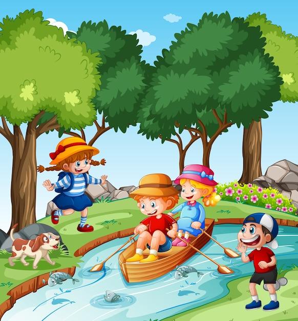 Dzieci Wiosłują łodzią W Scenie Parku Strumienia Premium Wektorów