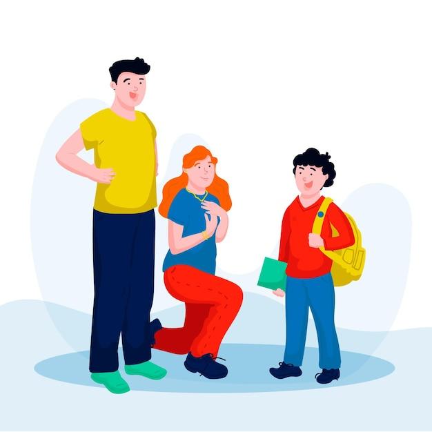 Dzieci Wracają Do Szkoły Z Rodzicami Darmowych Wektorów