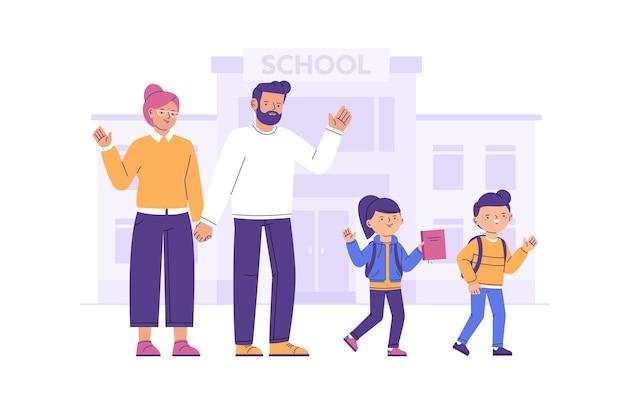 Dzieci Wracają Do Szkoły Z Rodzicami Premium Wektorów