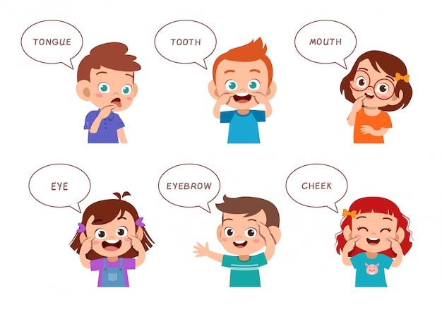 Dzieci, Wskazując Część Ciała Wektor Zestaw Premium Wektorów