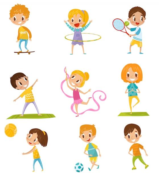 Dzieci Wykonujące Różnego Rodzaju Zestaw Sportowy, Jazda Na Deskorolce, Tenis, Gimnastyka, Joga, Koszykówka, Piłka Nożna Ilustracje Na Białym Tle Premium Wektorów