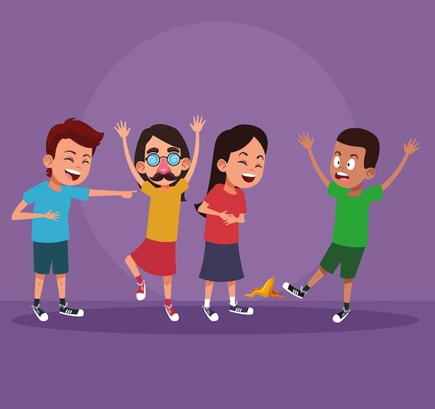 Dzieci z dowcipami kreskówki Premium Wektorów