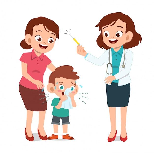 Dzieci z egzaminem lekarza rodzica Premium Wektorów