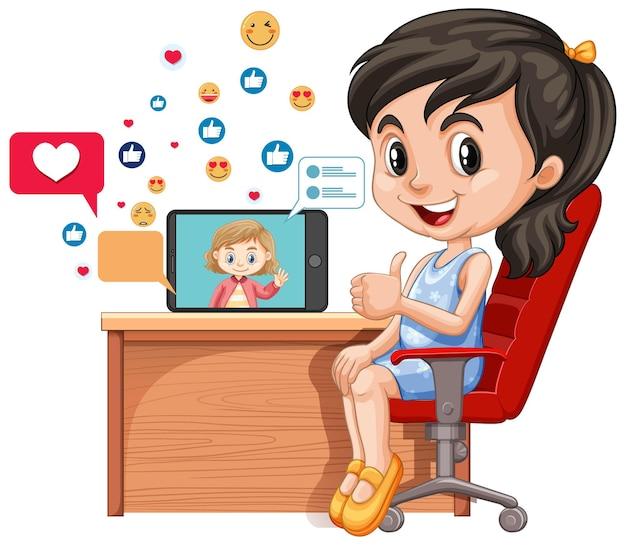 Dzieci Z Elementami Mediów Społecznościowych Na Białym Tle Darmowych Wektorów