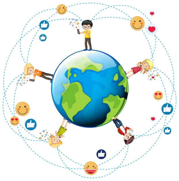 Dzieci Z Elementami Mediów Społecznościowych Na Kuli Ziemskiej Darmowych Wektorów
