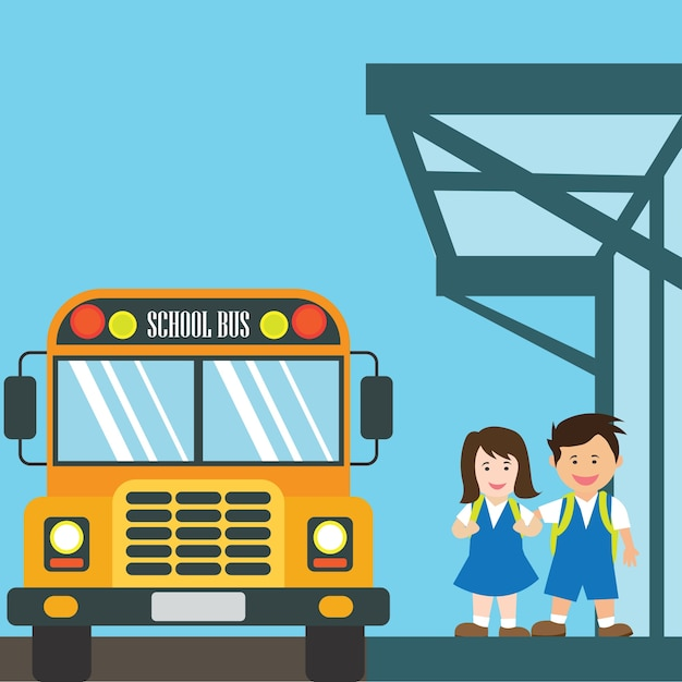 Dzieci z jednolite do szkoły jazdy żółty autobus szkolny Premium Wektorów
