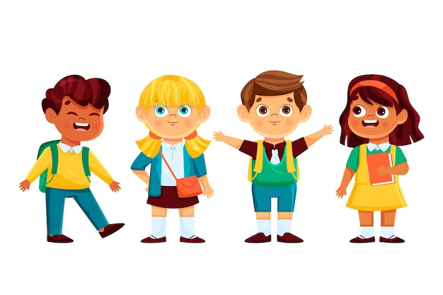 Dzieci Z Kreskówek Z Powrotem Do Szkoły Darmowych Wektorów