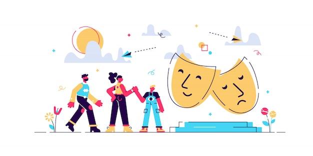 Dzieci Z Opiekunami Lubią Grać Na Scenie Teatralnej Na Zewnątrz, Malutkie Ludziki. Obóz Teatralny, Letni Program Aktorski, Koncepcja Kursów Dla Młodych Aktorów. Jasny żywy Fiolet Na Białym Tle Ilustracja Premium Wektorów