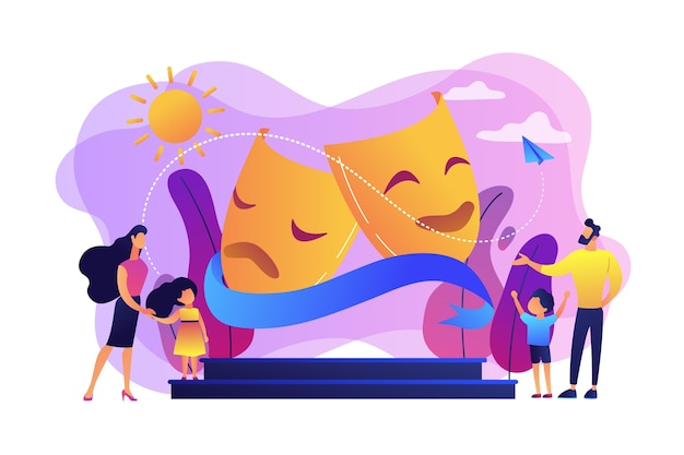 Dzieci Z Opiekunami Lubią Grać Na Scenie Teatralnej Na Zewnątrz, Malutkie Ludziki. Obóz Teatralny, Letni Program Aktorski, Koncepcja Kursów Dla Młodych Aktorów. Darmowych Wektorów