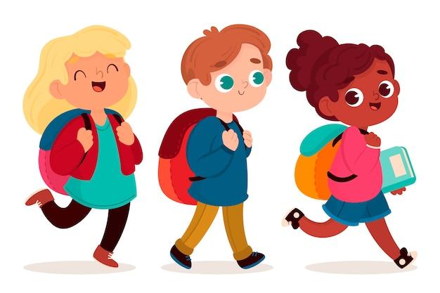 Dzieci Z Powrotem Do Szkoły W Płaskiej Konstrukcji Darmowych Wektorów