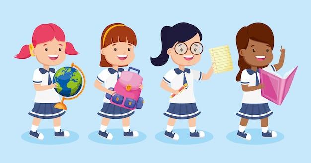 Dzieci z powrotem do szkoły Darmowych Wektorów