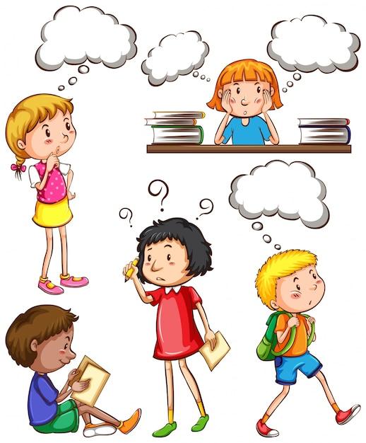 Dzieci z pustymi myślami Darmowych Wektorów