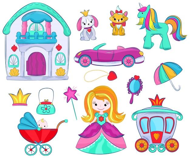 Dzieci zabawki wektor kreskówka dziewczęce gry dla dzieci w pokoju zabaw i gry z dziecinnego samochodu lub dziewczęcej lalki wózek i księżniczka zestaw ilustracji jednorożca lub psa na białym tle. Premium Wektorów