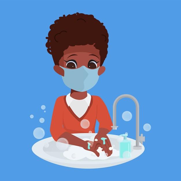 Dzieci Zawsze Myją Ręce Charakter. Premium Wektorów