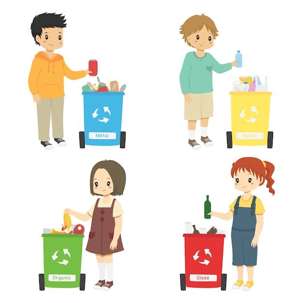 Dzieci zbierają śmieci do recyklingu. zestaw do sortowania śmieci Premium Wektorów