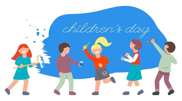Dzieci ze szczotkami i wałkiem malują ścianę na niebiesko. światowy dzień dziecka. Premium Wektorów