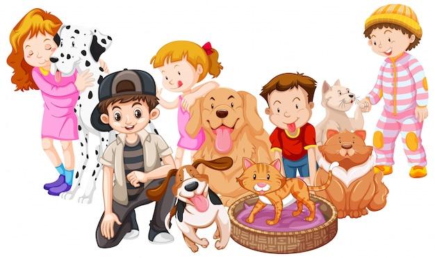 Dzieci ze zwierzętami na białym tle Darmowych Wektorów