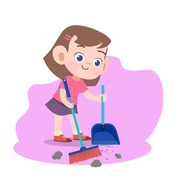 Dzieciak dziewczyny zamiatania miotły ilustracja Premium Wektorów