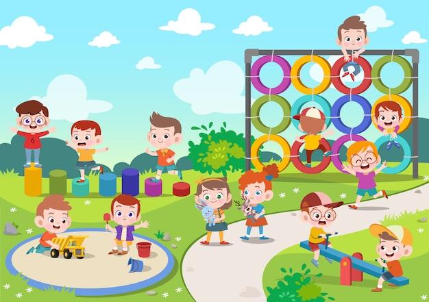 Dzieciaki bawić się boisko ilustrację Premium Wektorów