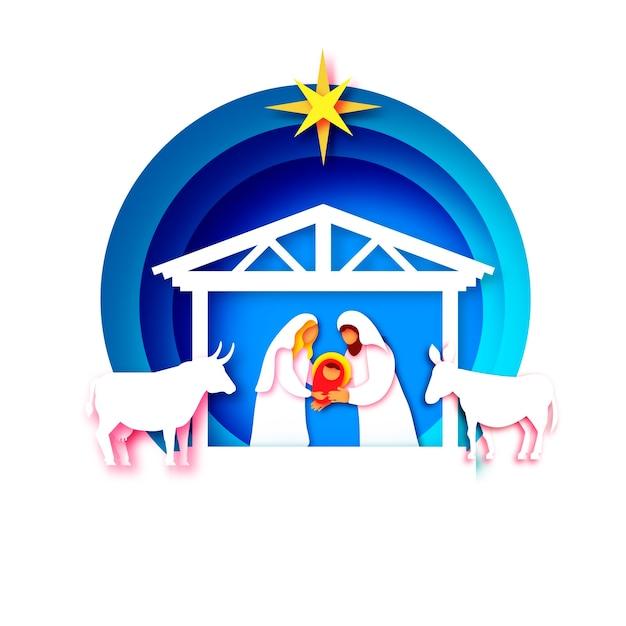 Dzieciątko Jezus Chrystus. święte Dzieciątko I Rodzino. Maryja I Józef. Narodziny Chrystusa Gwiazda Betlejemska - Kometa Wschodnia. Boże Narodzenie Szopki W Stylu Sztuki Papieru. Szczęśliwego Nowego Roku. Zwierząt. Niebieski. Premium Wektorów