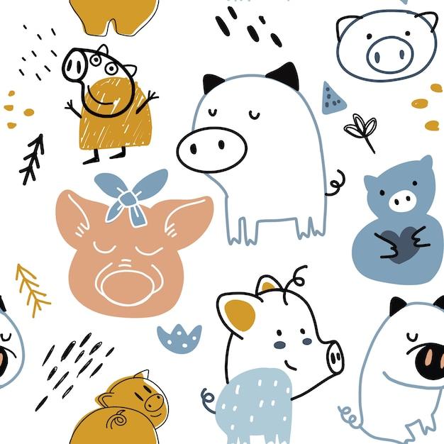 Dziecinna Szwu Z Zabawna świnka Premium Wektorów