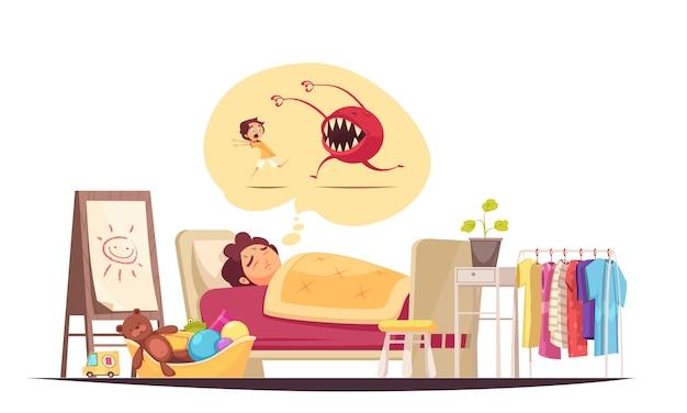 Dzieciństwo Obawia Się Kompozycji Ze Złymi Snami I Symbolami Potworów Darmowych Wektorów