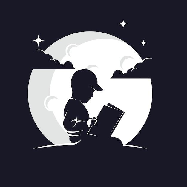 Dziecko, czytanie książki sylwetka na tle księżyca Premium Wektorów