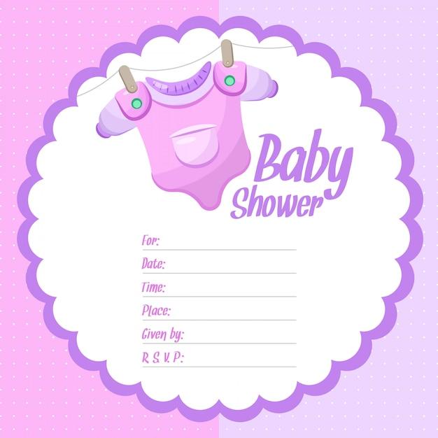 Dziecko Dziewczynka Prysznic Tło Premium Wektorów