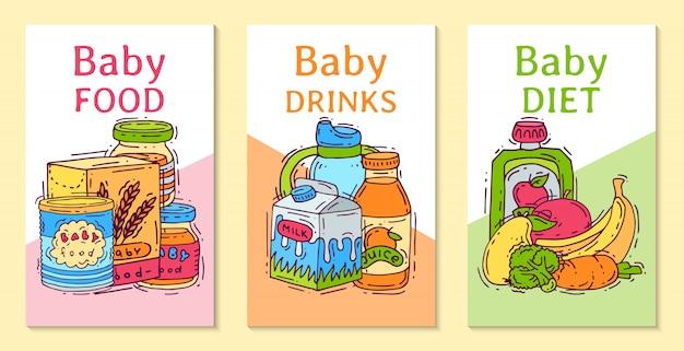 Dziecko formuły przecieru jedzenia wektorowa ilustracja. odżywianie dla dzieci. butelki dla niemowląt i karmienie. szablony produktów na pierwszy posiłek dla zaproszeń Premium Wektorów